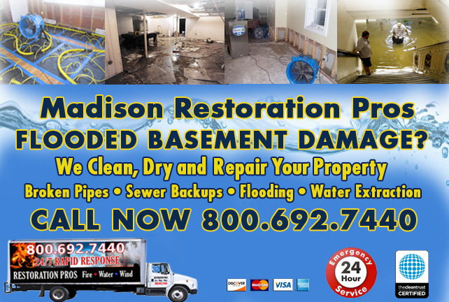 Madison flooded basement cleanup
